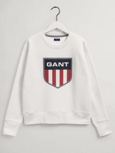 GANT – RETRO SHEILD HOODIE סוויטשרט בצבע לבן דגם