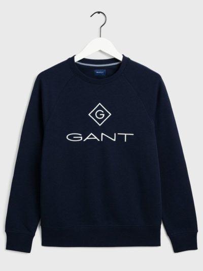 GANT – סווטשרט בצבע כחול דגם LOCK UP C-NECK