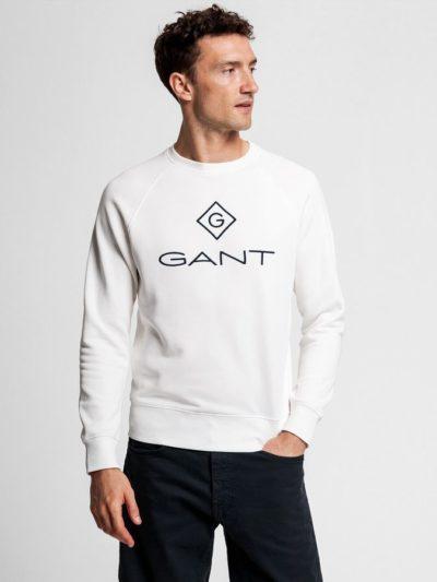 GANT – סווטשרט בצבע לבן דגם LOCK UP C-NECK