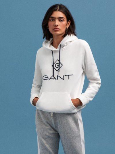 GANT – קפוצ'ון בצבע לבן דגם LOCK UP HOODIE