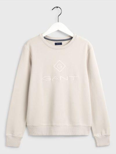 GANT – סוויטשרט בצבע בז' דגם LOCK UP C-NECK SWEAT