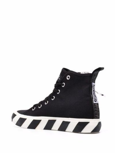 נעליים בצבע שחור דגם OFF-WHITE – MID TOP VULCANIZED CANVAS BLACK WHITE