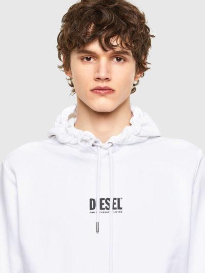 DIESEL – קפוצ'ון בצבע לבן דגם S-GIRK-HOOD-SMALLOGO