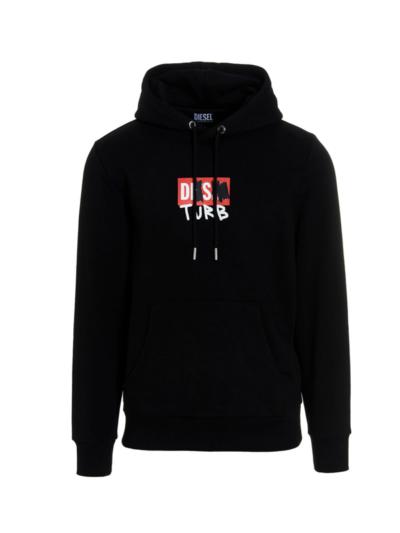 DIESEL – סוויטשירט בצבע שחור דגם S-GIRK-HOOD-B8