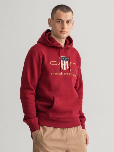 GANT – קפוצ'ון בצבע אדום דגם ARCHIVE SHIELD HOODIE