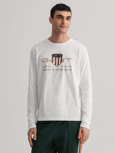 GANT – טישרט ארוך בצבע לבן דגם ARCHIVE SHIELD LS