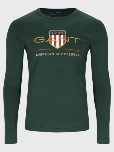 GANT – טישרט ארוך בצבע ירוק דגם ARCHIVE SHIELD LS