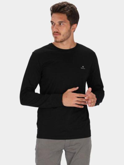 GANT – טישרט ארוך בצבע שחור דגם SLIM MERC JERSEY LS