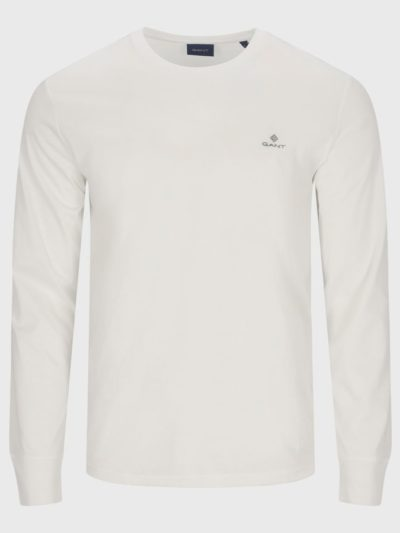 GANT – טישרט ארוך בצבע לבן דגם SLIM MERC JERSEY LS