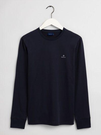 GANT – טישרט ארוך בצבע כחול דגם SLIM MERC JERSEY LS