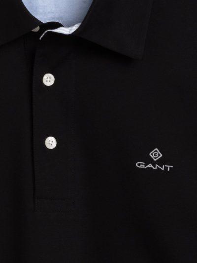 GANT – פולו ארוך בצבע שחור דגם MERCERIZED JERSEY LS