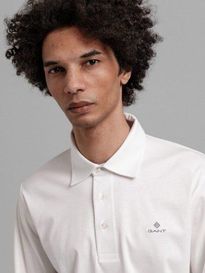 GANT – פולו ארוך בצבע לבן דגם MERCERIZED JERSEY LS