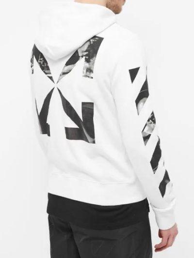 OFF-WHITE – קפוצ'ון בצבע לבן דגם CARAVAGGIO ARROW SLIM ZIP