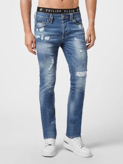 PHILIPP PLEIN – ג'ינס בצבע כחול דגם DENIM SUPER STRAIGHT
