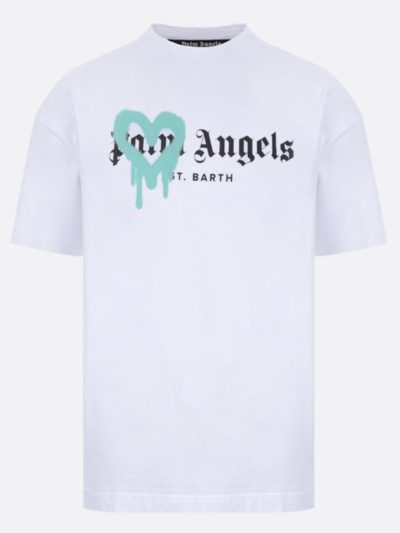 PALM ANGELS – טישרט בצבע לבן דגם SPRAYED HEART LOGO
