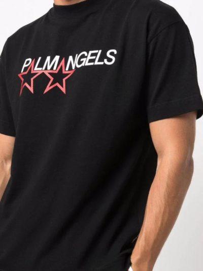 PALM ANGELS – טישרט בצבע שחור דגם LOGO PRINT