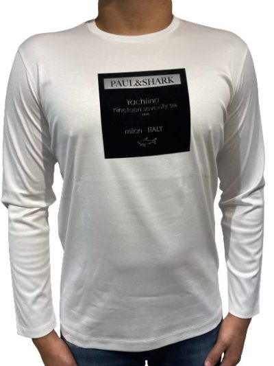 PAUL&SHARK – טישרט ארוך בצבע לבן דגם PAUL&SHARK T-SHIRT